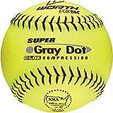Worth 12 NSA Gray Dot Protac Slowpitch Softballs YELLOW W/ BLACK STITCH 12 (ONE DOZEN)