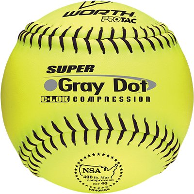 Worth 12 NSA Gray Dot Protac Slowpitch Softballs YELLOW W/ BLACK STITCH 12 (ONE DOZEN)