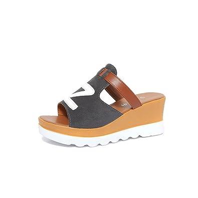 Femmes Chaussures Printemps Et Été Nouveau Dessous Plat Gâteau Plat Augmenter Casual Épais Sandales Et Pantoufles Femmes (Color : Gray, Taille : 40)