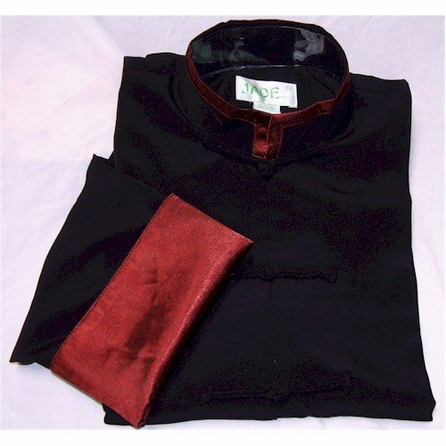 Burgundy Trim Black Rayon Silk Mandarin Collar Kung Fu Jacket, Size XL by Jade