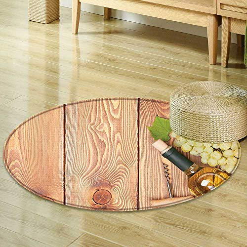 Mikihome Dining Room Home Bedroom Carpet Winery Decor Wine Bottle and Bunch of Grapes on Wooden Table Background Romantic Italian Dinner Theme Green Brown Non Slip Rug R-35 ()