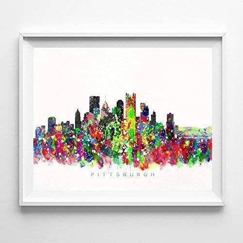 Amazon.com: Pittsburgh Pennsylvania Watercolor Skyline