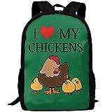 ZQBAAD Cute Animal I Love Chickens Luxury Print Men And Women's Travel Knapsack