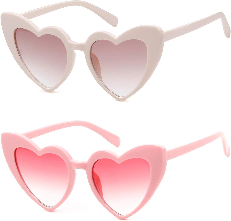 ADEWU Lunettes de Soleil en Forme de Coeur Y - Rose + Beige