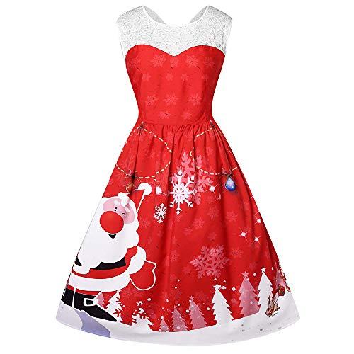 YOCheerful Women Vintage Dresses Plus Size O-Neck Santa Claus Print Christmas Lace Dresses Elegant Dresses(Red, XXXXL)(Red, 4XL)