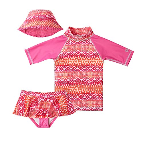 UV SKINZ UPF 50+ Girls 3-Piece Swim Set (3T, Pink Ombre Aztec) ()