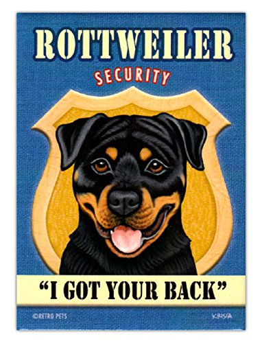 Retro Dogs Refrigerator Magnets - Rottweiler Security - Vintage Advertising Art