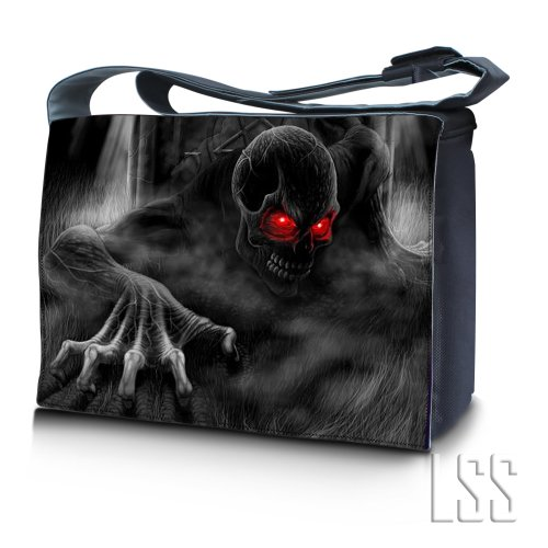 """LSS 15"""" 15.6 inch Laptop Padded Compartment Shoulder Messenger Bag with Colorful Dark Ghost Zhombie Skull Carrying Case for 14"""