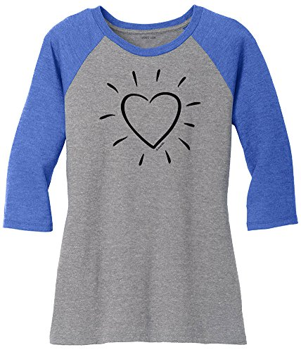 (Joe's USA Heart Logo Ladies Raglan Baseball Shirt-XL-RoylFst/GryFst/b)