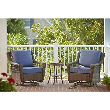 Spring Haven Brown 3 Piece All Weather Patio Chat Set With Sky Blue Cushions