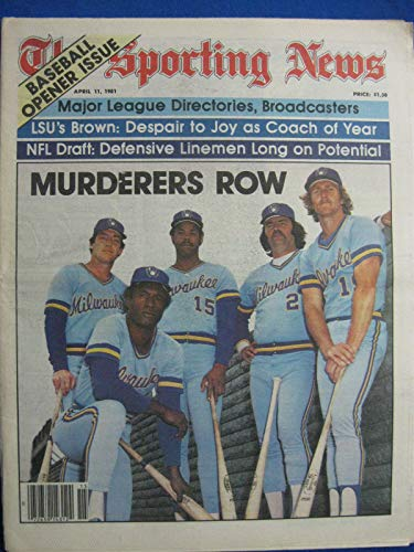 1981 The Sporting News April 11 Milwaukee Brewers - Murderers Row w/Yount, Molitor, Thomas Near-Mint