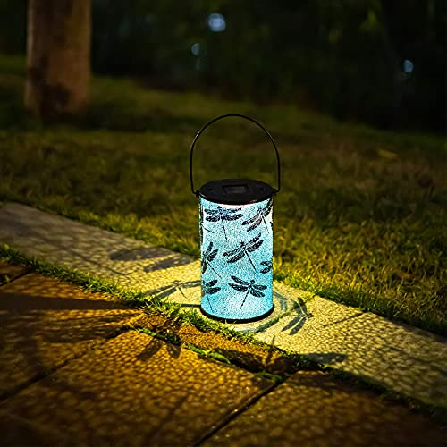 FLJZCZM Solar Lanterns Outdoor Hanging Lights Garden LED Waterproof Lamp, Metal Decorative Retro Light Battery Table Lamps for Patio Camping Courtyard Party Christmas Decorations(1 Pack, Blue)