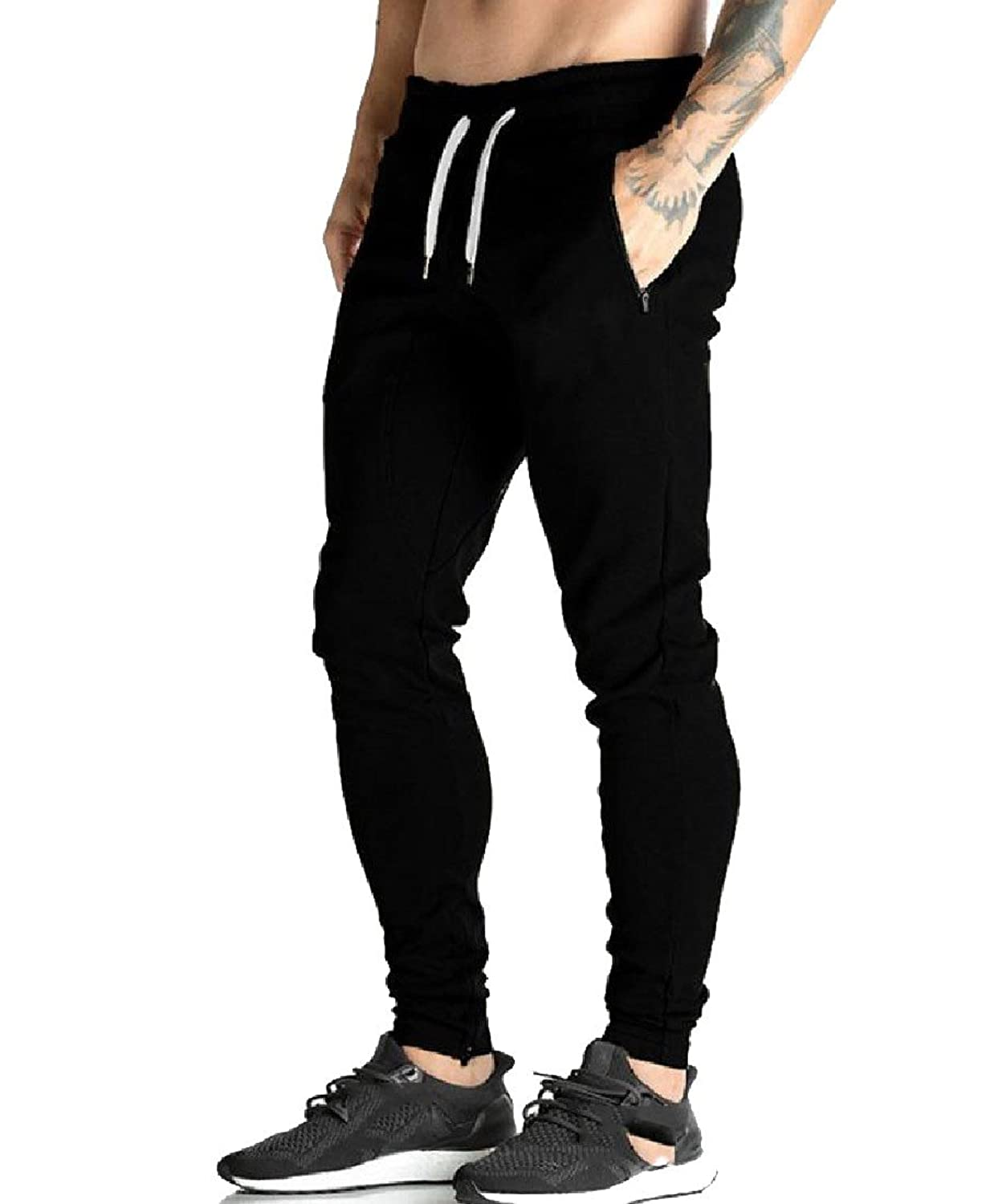 Coolred-Men Sporty With Pocket Fitness Straight Leg Drawstring Casual Pants for sale