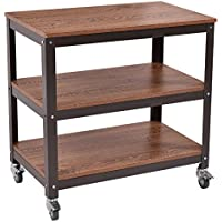 3 Tier Wood Metal Rolling Storage Shelf Shelves Rack Utility Cart Bookcase Bookshelf Book Vases Ornaments Potted Plants Display Organizer Home Office Kitchen Bedroom Furniture Decoration