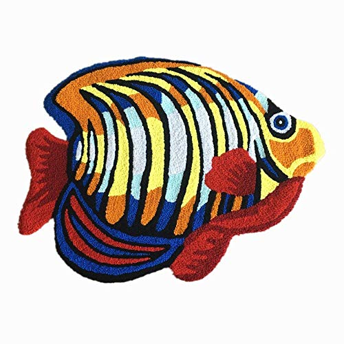 Shuheng Colorful Marine Fish Area Rugs 32 by 24 Inch Floor Mats Door Mat Washable Anti-Slip Tropical Fish Rug Welcome Mat Bathroom Bath Rug Children Bedroom Bedside Rug Small Chair Cushion