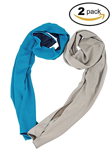 Cooling Towel, Cool Towel for Instant Cooling Relief, Chilling Neck Wrap, Ice Cold Scarf For Men & Women, 40x12, Microfiber Bandana, Evaporative Chilly Towel For Yoga Golf Travel (blue+grey)
