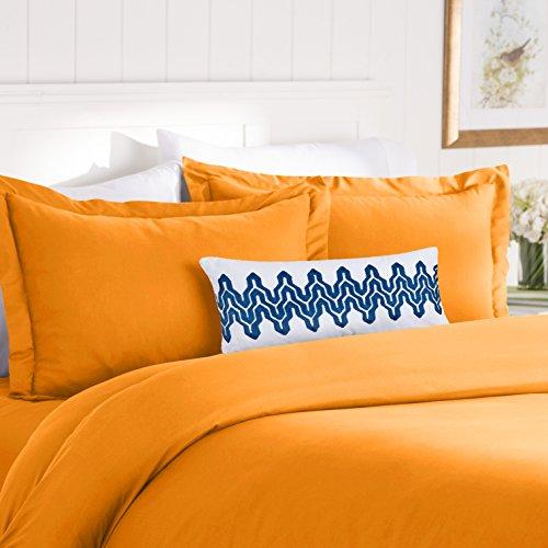 Elegant Comfort Best, Softest, Coziest Duvet Cover Ever! 1500 Thread Count Egyptian Quality Luxury Super Soft WRINKLE FREE 3-Piece Duvet Cover Set, Full/Queen, Elite Orange (Bed Comforter Elite Set)