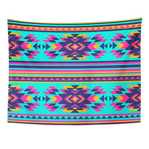 Breezat Tapestry Pink Hippie Neon Color Tribal Navajo Aztec Abstract Geometric Ethnic Hipster Design Summer Home Decor Wall Hanging for Living Room Bedroom Dorm 60x80 Inches