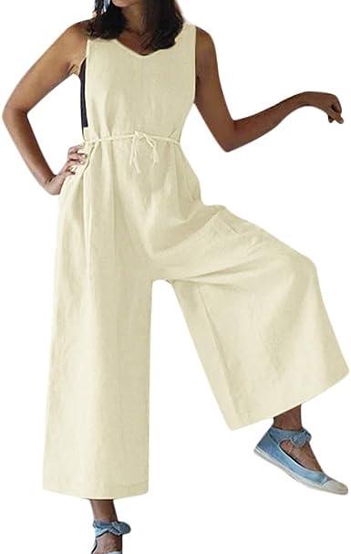 MYHALF Women Overalls Cotton Wide Leg Jumpsuits Sleeveless Linen Pants Rompers