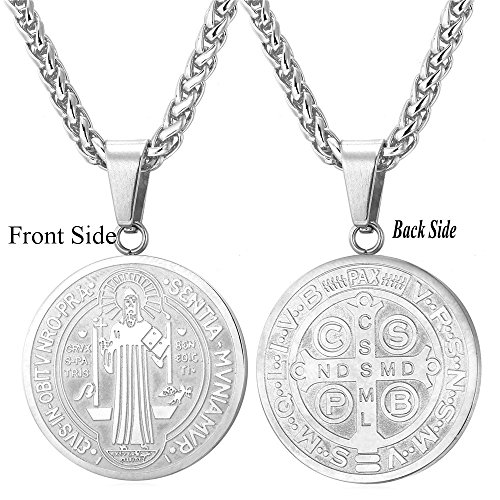 Stainless Steel Saint Benedict Medal Pendant Necklace Amulet Lucky (Benedict Pendant)