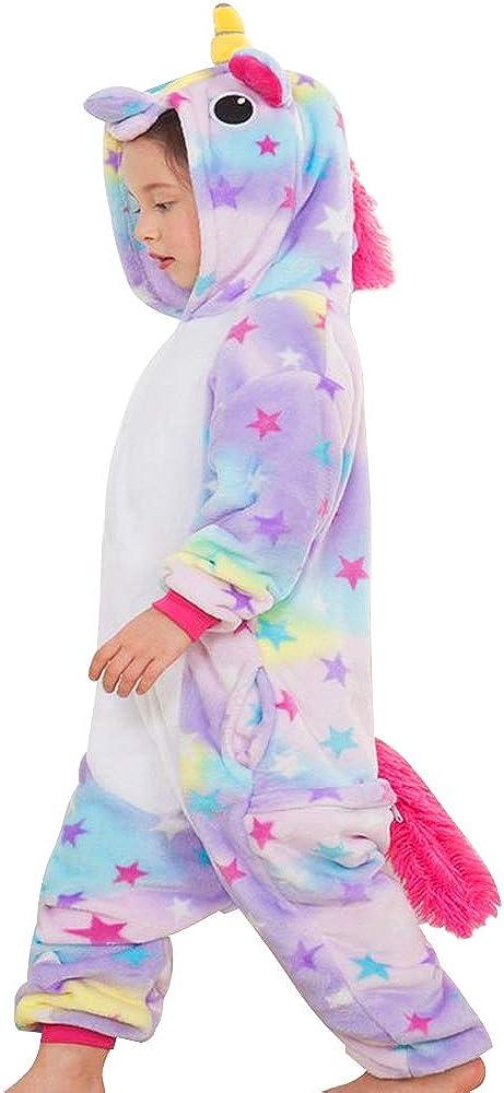 Yansion Einhorn Onesies Pyjamas,Cosplay Kost/üme Hoodie Nachtw/äsche Flanell Einhorn Nachtw/äsche Cartoon Fancy Schlafoveralls Dress Up f/ür Kinder Weihnachten Geburtstagsgeschenk f/ür 6-12 Jahre