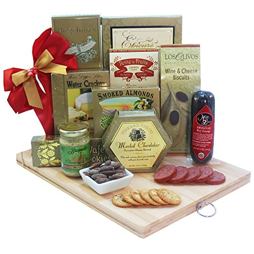A Cut Above Gourmet Gift Basket with Wooden Cutting Board (Cheese Gift Sets Christmas)