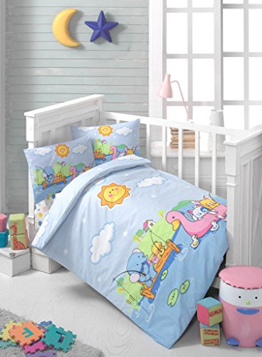 LaModaHome Happy Baby Bedding Set, 100% Cotton - Cute Animals Fishing and Swimming, Elephant, Duck, Cat, Wharf - Set of 4 - Duvet Cover, Flat Sheet and 2 Pillowcases for Baby, Toddler ()