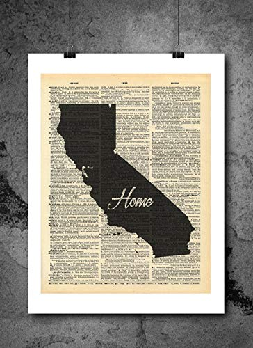 California State Vintage Map Vintage Dictionary Print 8x10 inch Home Vintage Art Abstract Prints Wall Art for Home Decor Wall Decorations For Living Room Bedroom Office Ready-to-Frame Home
