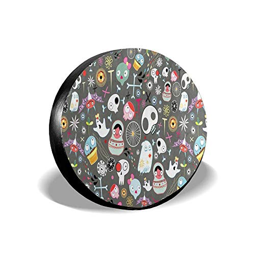 MichelleSmithred Halloween Decor Floral Sugar Skulls Spooky Bat Bones Spider Spare Tire Cover Waterproof Dust-Proof(Fit 14 15 16 17 Inches)