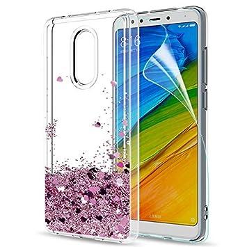 LeYi Funda Xiaomi Redmi 5 Silicona Purpurina Carcasa con HD Protectores de Pantalla,Transparente Cristal Bumper Telefono Gel TPU Fundas Case Cover ...