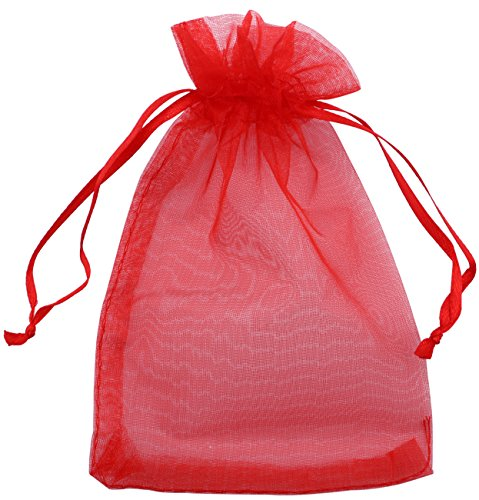 (DriewWedding 100PCs Drawstrings Mesh Organza Gift Candy Bags 10x15cm Wedding Party Favors Jewelry Decorative Pouches(Red) )