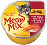 Meow Mix Tender Favorites with Real Salmon and Red Snapper in Sauce, 2.75-Ounce (Pack of 24), My Pet Supplies