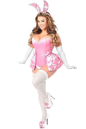 99561f8ba5a Amazon.com  Daisy Corsets Women s Lavish Plus Size 4 Pc Pink Bunny Corset  Costume  Clothing