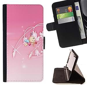 - Cute Princess Pink - - Monedero PU titular de la tarjeta de cr????dito de cuero cubierta de la caja de la bolsa FOR Samsung Galaxy S5 V SM-G900 RetroCandy
