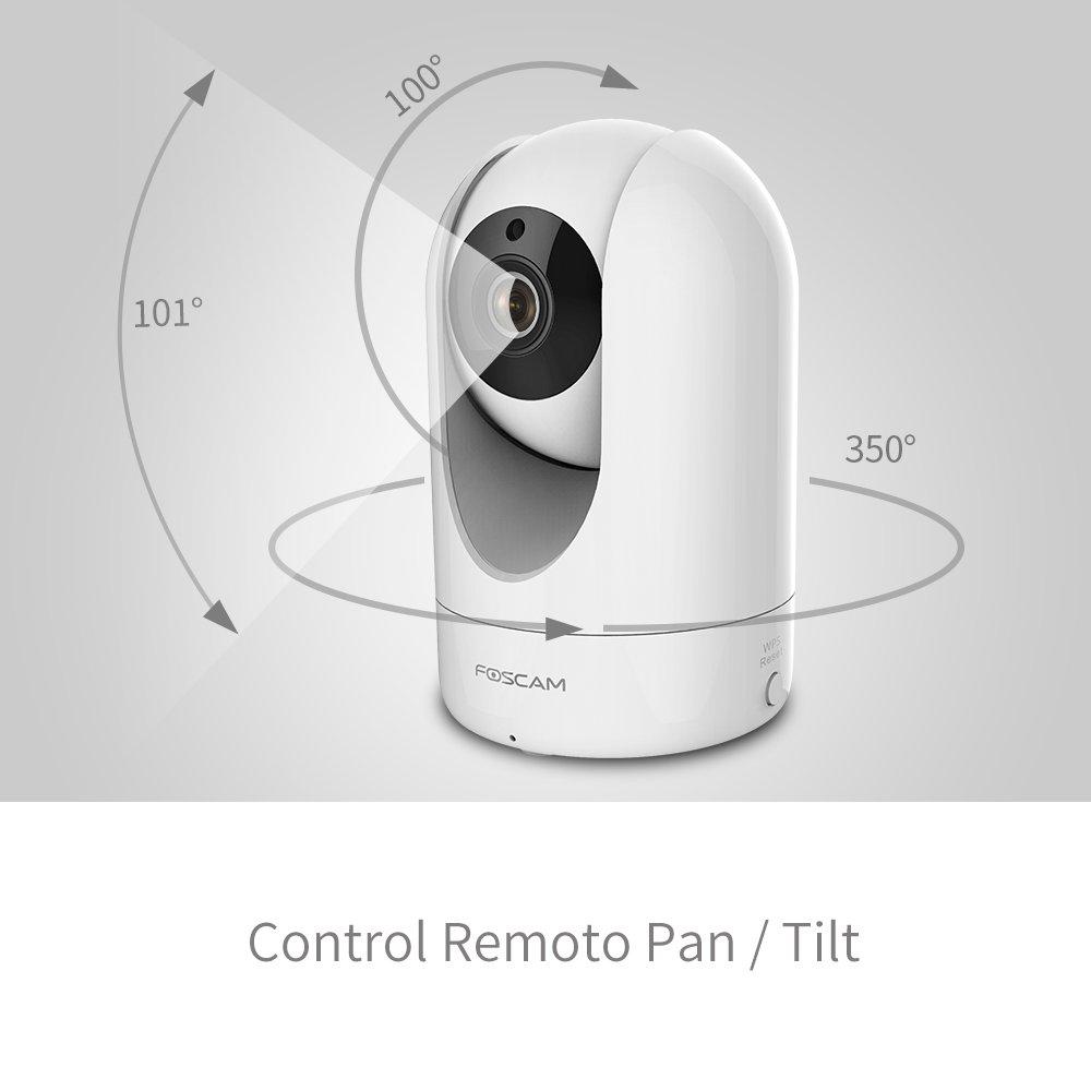 y Control Remoto desde App para IOS y Android Blanca Audio Bidireccional Lente 2Mpx con Pan // Tilt // ZOOM Incluye P2P FOSCAM R2 1080P Full HD WiFi C/ámara IP de Seguridad Visi/ón Nocturna