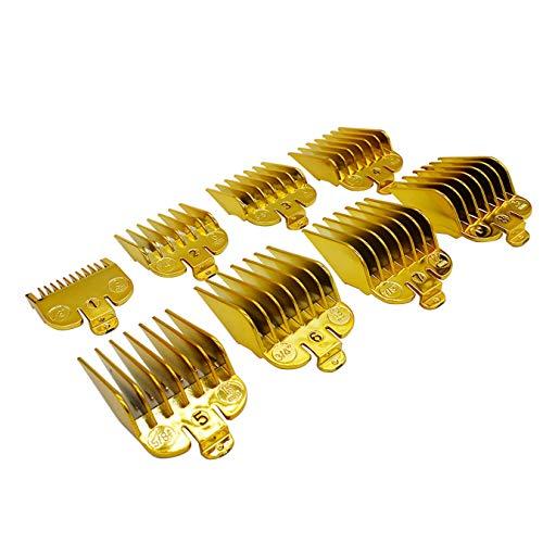 AIRERA 8 Colori Professionale Pettini Guida #3170-400, 8 Confezioni 8 Colori Assortiti 8 Lunghezze 3mm-25mm Pettini Per Pettine Per Tagliacapelli Standard (Oro)