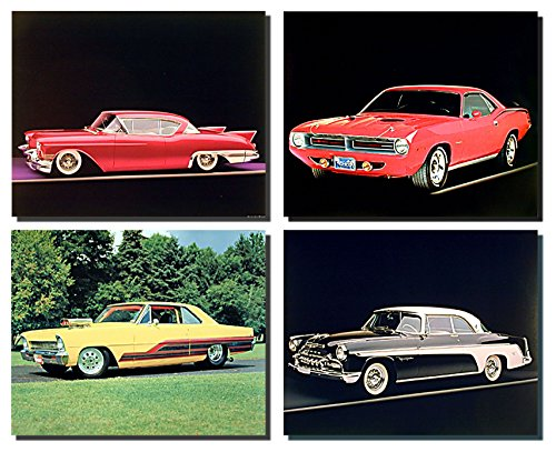 Impact Posters Gallery Wall Decor Picture Art Print Vintage Old Chevy Classic Car Automobile 8x10 Four Set Poster ()