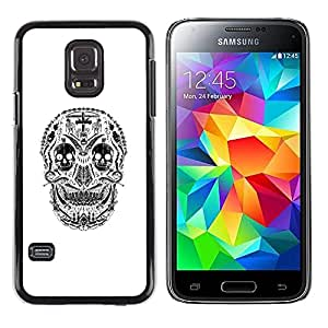 Shell-Star Arte & diseño plástico duro Fundas Cover Cubre Hard Case Cover para Samsung Galaxy S5 Mini / Samsung Galaxy S5 Mini Duos / SM-G800 !!!NOT S5 REGULAR! ( White Black Skull Cross Christian Death )