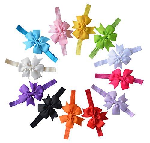 Bandeaux Fleur mousseline de cheveux Qandsweet Baby Girl (Les 12colors)