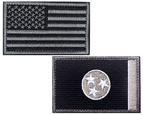 HFDA 2 piece US Flag and BW TENNESSEE Flag Patches Velcro Mo
