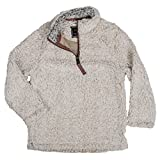 True Grit Kid's 1/4 Zip Frosty Tipped Pile Oatmeal Pullover M