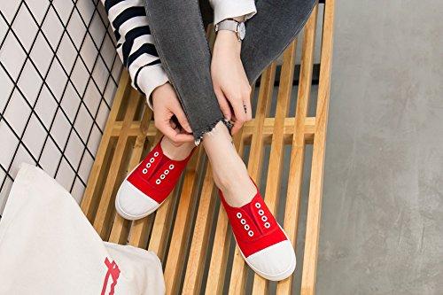 Rojeam 36 Casual 40 Sneaker Donna Minimalismo Rosso Sportive In Per Tessuto Basse Scarpe wavxraqt