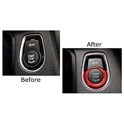 iJDMTOY Anodized Red Aluminum Keyless Engine Push Start Button Decoration Ring Trim Compatible With BMW 2 3 4 Series X1 (F22 F30 F32 F34 F48): Automotive