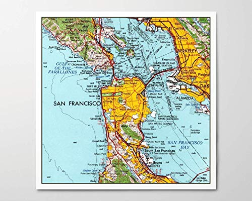 1960s San Francisco Map, Archival Art Print Reproduction, Square, 8x8 inches, Unframed