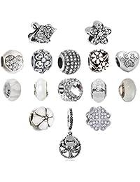 N'joy Assorted Crystal Rhinestone Charm Beads,Clap,Stoper,Dangle Pendant,Fit European Charm Bracelet,Birthstone