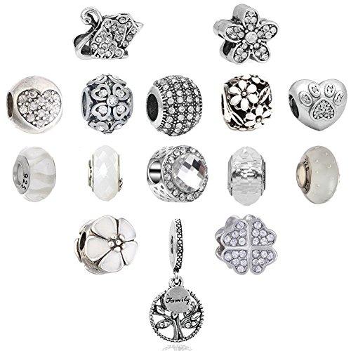 (N'joy 16PC Assorted Crystal Rhinestone Charm Beads,Clap,Stoper,Dangle Pendant,Fit European Charm Bracelet,April Birthstone (Flower-White) )
