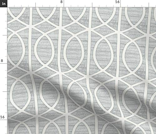 Spoonflower Abstract Lines Fabric - Rails Geo Modern Decor Iron Work Scroll Geometric Gate Grey Home Decor by Littlerhodydesign Printed on Petal Signature Cotton Fabric by The Yard