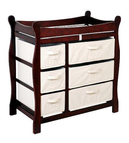 [Badger Basket Baby Changing Table with Six Baskets, Cherry] (Cherry Finish Changing Table)