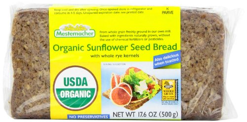 Mestemacher Bread, Organic Sunflower Seed, 17.6-Ounce (Pack of 4)