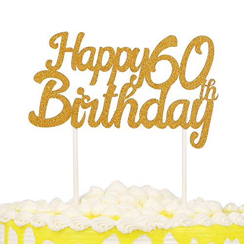 PALASASA Gold Glitter Happy Birthday 60 & Cake Topper Decoration ()